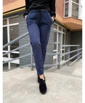 Повсякденні брюки синього кольору на резинці