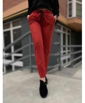 Повсякденні брюки кольору теракота на резинці
