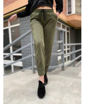 Повсякденні брюки кольору хакі на резинці
