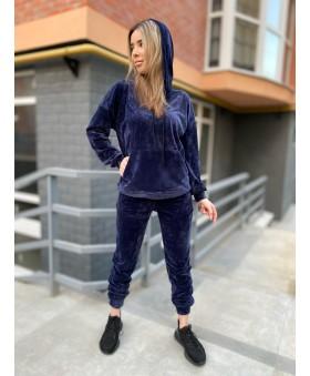Стильний велюровий костюм темно-синього кольру
