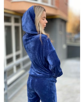 Стильний велюровий костюм синього кольру