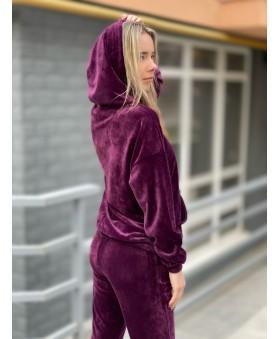 Ніжний велюровий костюм сливового кольору
