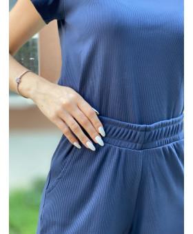 Костюм-двійка в рубчик темно-синього кольору