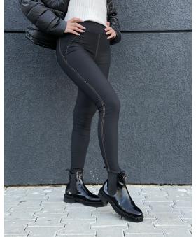 Утеплені чорні лосіни під джинс великих розмірів