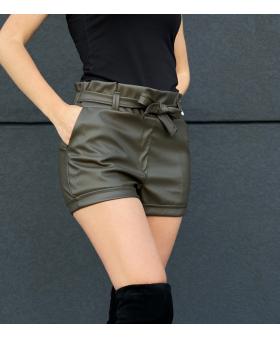 Шкіряні шорти кольору хакі